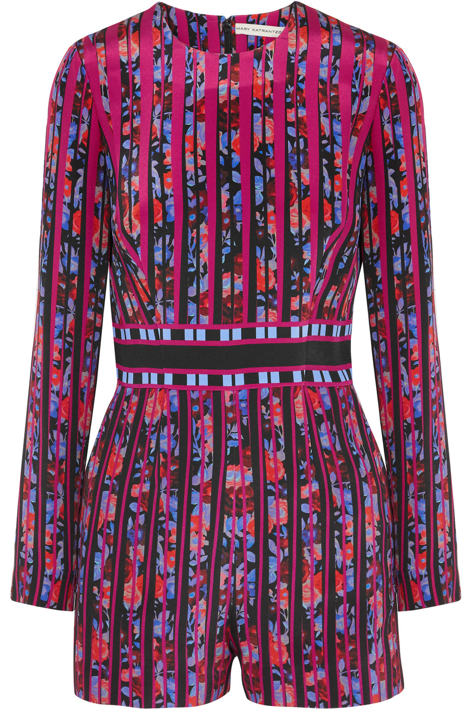 Mary Katrantzou Poppies Printed Silk-Crepe Playsuit, Fuchsia/Purple, Women's, Size: 8