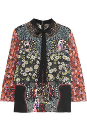 Mary Katrantzou Milana printed silk crepe de chine and silk-chiffon blouse