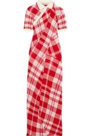Checked knitted cotton maxi dress