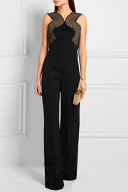 Stella McCartney Alexandrine Aio embroidered mesh and wool-crepe jumpsuit