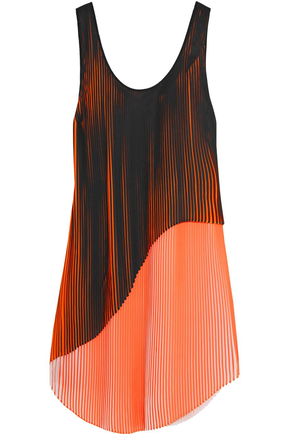 Stella Mccartney Fatima Plissé-Georgette Mini Dress, Orange, Women's, Size: 36