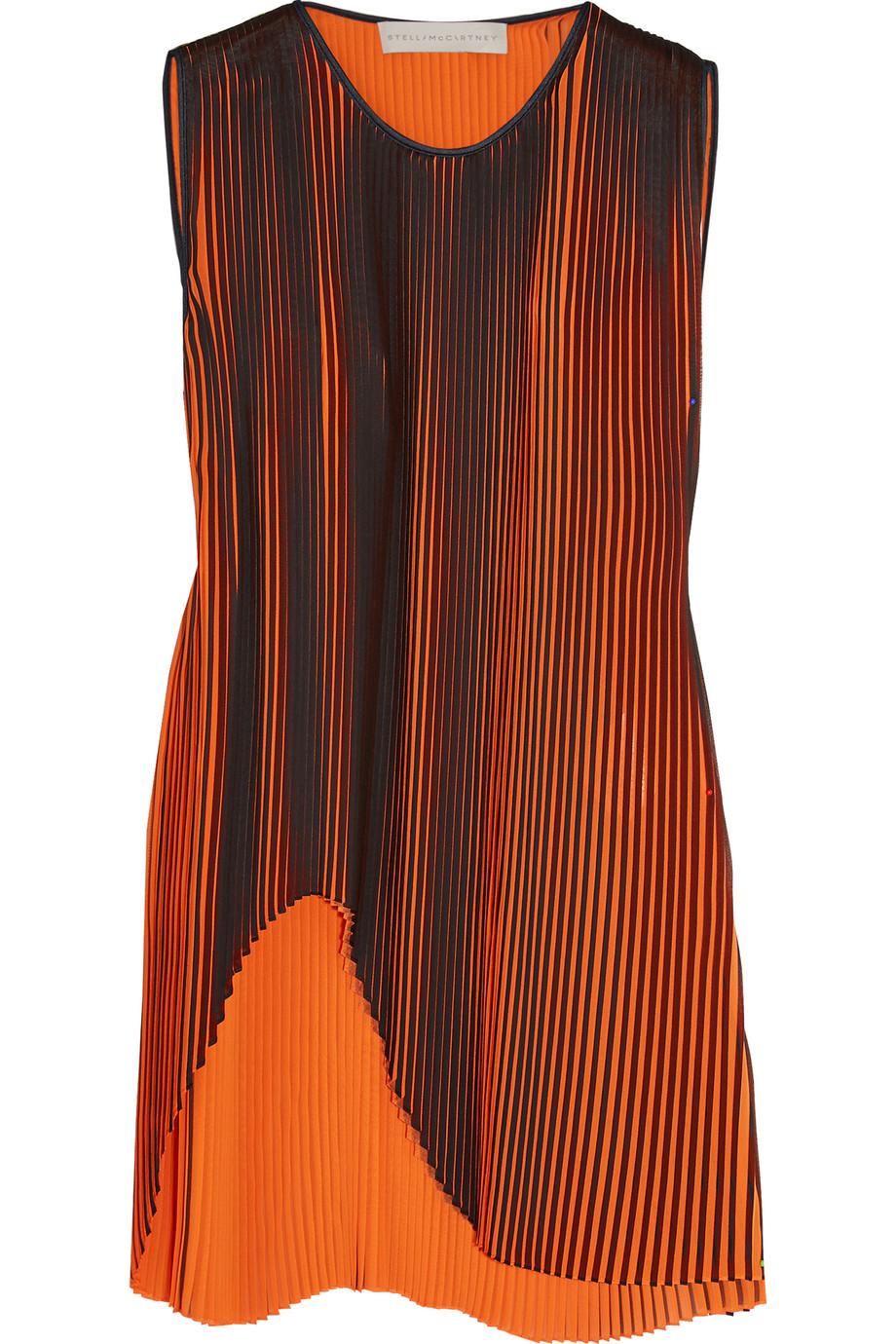 Stella Mccartney Gigi Asymmetric Plissé-Georgette Top, Orange/Black, Women's, Size: 46