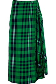Stella McCartney Draped plaid crepe maxi skirt