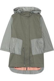 Layered shell-paneled stretch-cotton parka