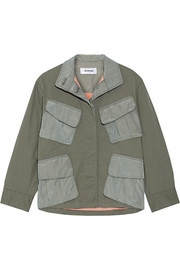 Shell-paneled stretch-cotton jacket