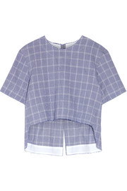 Checked crinkled cotton-blend top