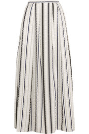 Latmos ruched satin and chiffon maxi skirt