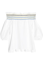 Peter Pilotto Petra off-the-shoulder embroidered cotton-poplin top