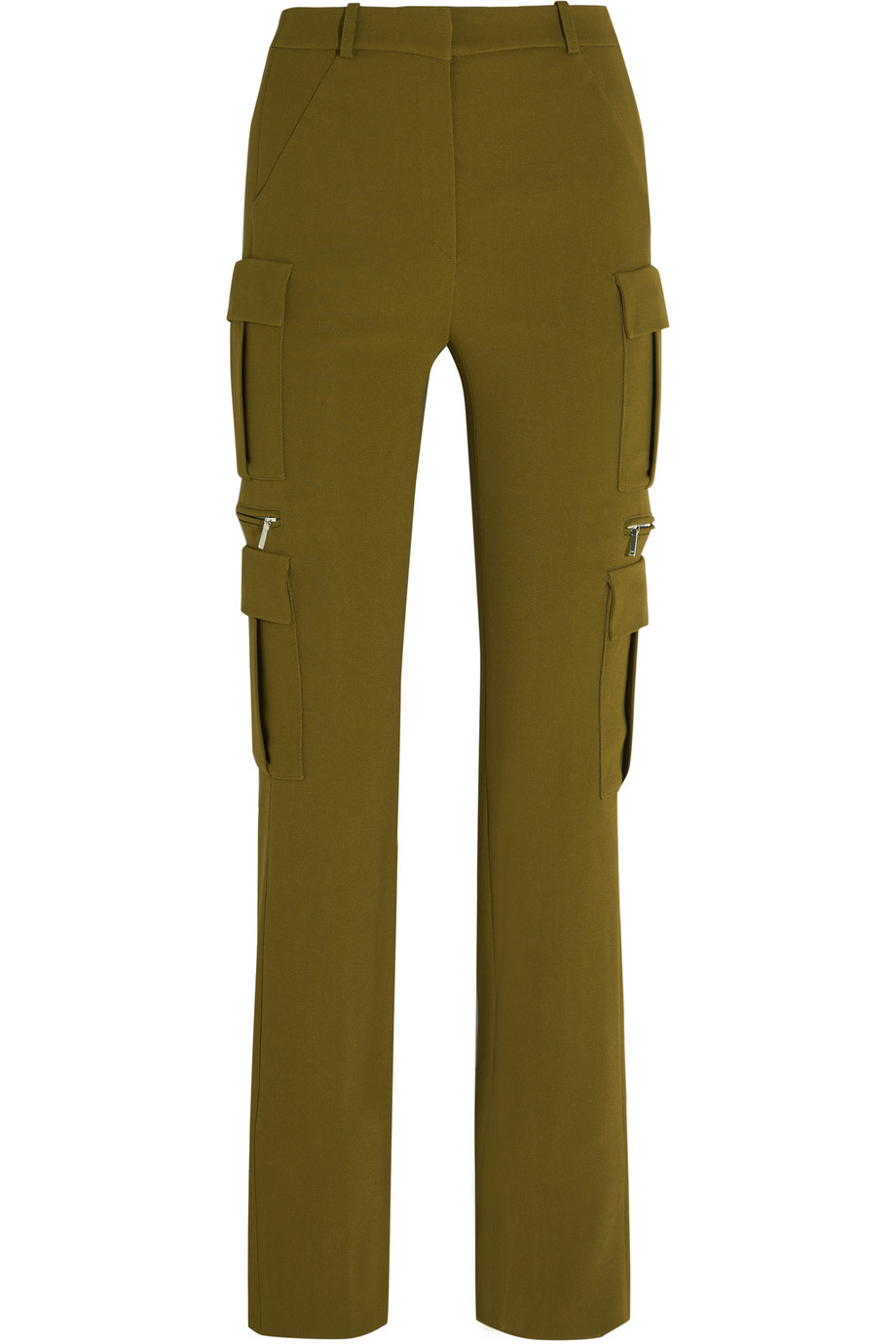 Mugler Stretch-Crepe Skinny Pants, Army Green, Women's, Size: 36