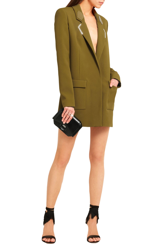 Mugler Embellished leather-trimmed crepe mini dress