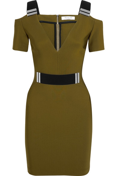 Mugler - Cutout Embellished Stretch-crepe Mini Dress - Army green