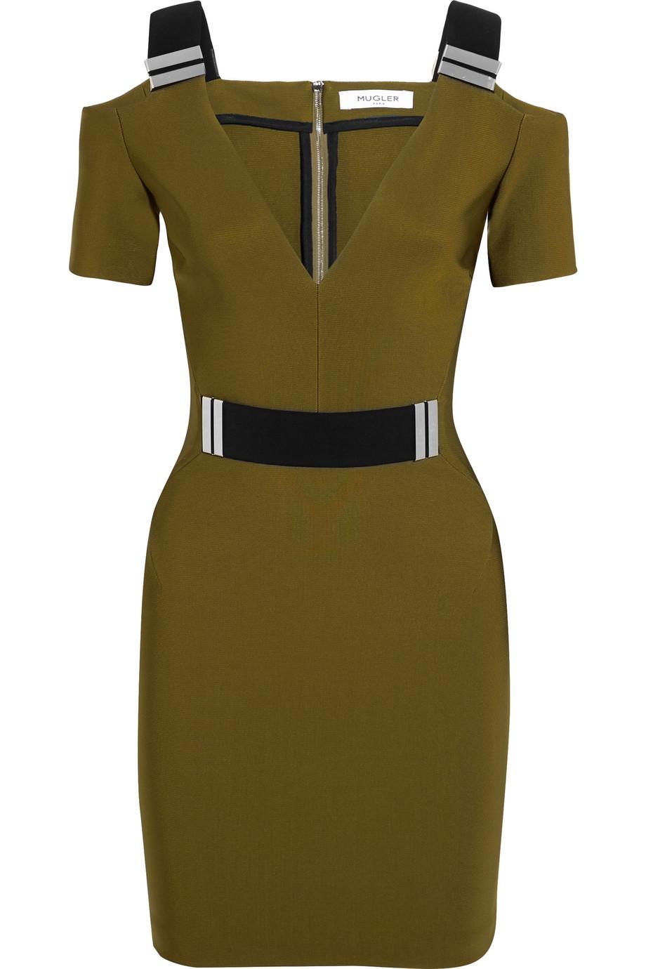 Mugler Cutout Embellished Stretch-Crepe Mini Dress, Army Green, Women's, Size: 36