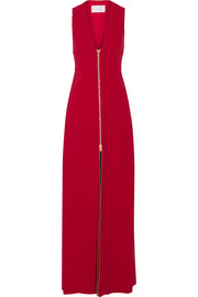 Zip-detailed stretch-cady gown