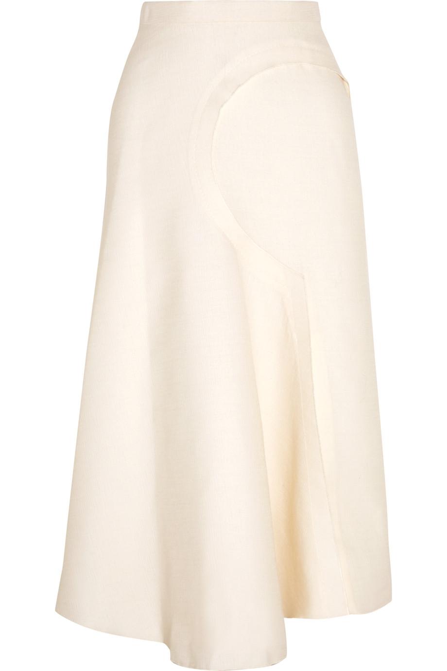Roksanda Rosalind Slub Wool-Blend Skirt, Ivory, Women's, Size: 8