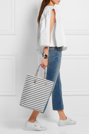 Sophia Webster Izzy leather-trimmed striped PVC tote