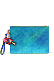 Flossy iridescent textured-leather pouch