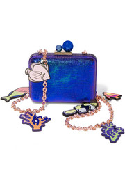 Vivi embellished lizard-effect leather shoulder bag