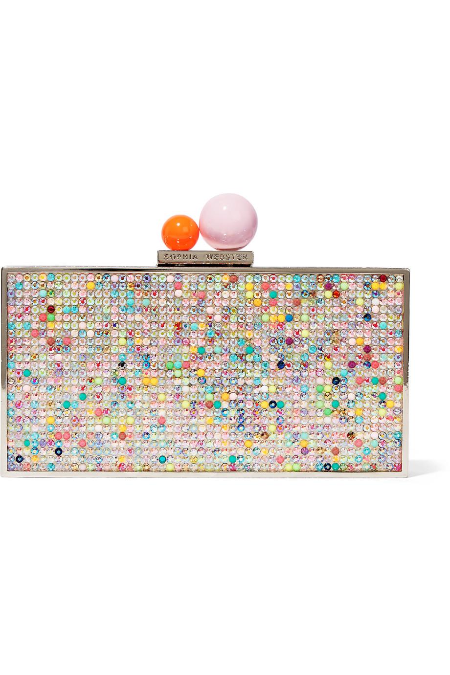 Sophia Webster Clara Crystal-Embellished Metal Clutch, Pink, Women's