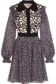 Giambattista Valli Ruffled printed silk-chiffon and guipure lace mini dress