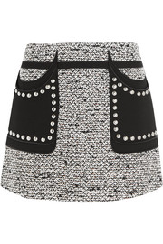 Giambattista Valli Studded crepe-paneled sequined bouclé-tweed mini skirt