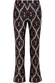 Giambattista Valli Cropped satin-jacquard slim-leg pants