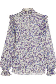 Giambattista Valli Ruffled printed silk-georgette blouse