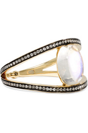 18-karat gold moonstone, diamond and sapphire ring