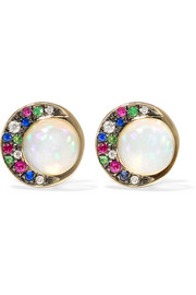 Eclipse 18-karat gray gold multi-stone earrings