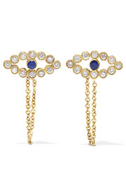 Chained Eye 18-karat gold, diamond and sapphire earrings