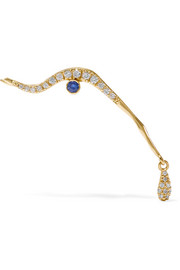 Ileana Makri Running Tear 18-karat gold, diamond and sapphire earring