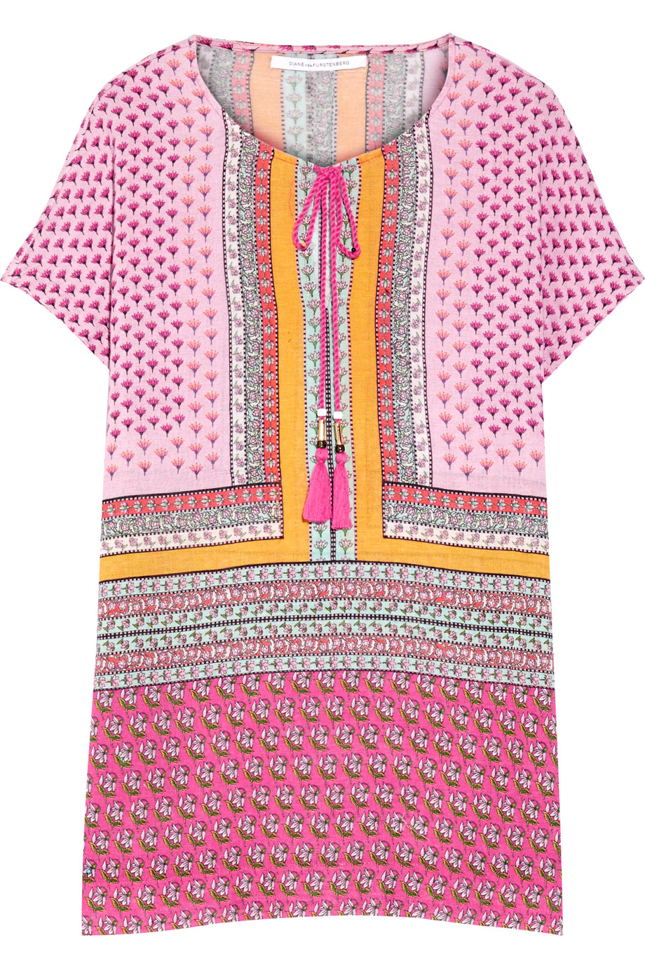 Diane Von Furstenberg Panarea Printed Linen and Cotton-Blend Gauze Kaftan, Pink, Women's - Printed, Size: XS