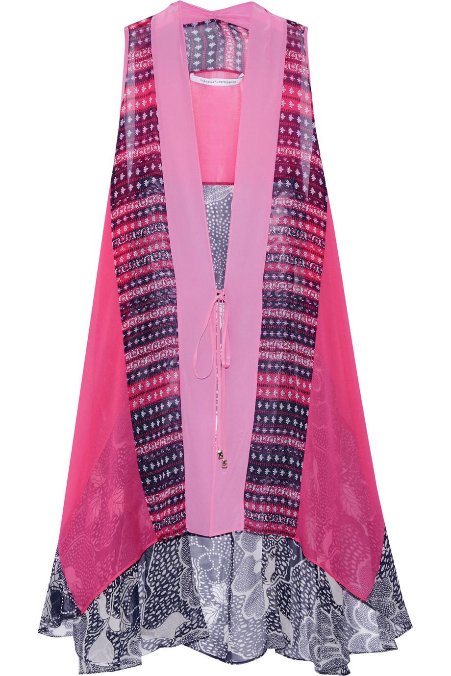 Diane Von Furstenberg Lipari Floral-Print Silk-Chiffon Vest, Pink, Women's, Size: XS
