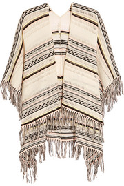 Fringed pointelle-knit cotton-blend poncho