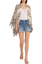 Maje Fringed pointelle-knit cotton-blend poncho