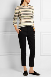 Maje Striped pointelle-knit cotton-blend sweater