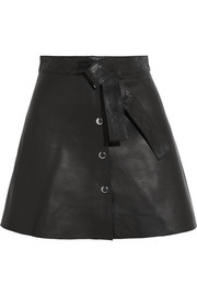 Maje Belted leather mini skirt