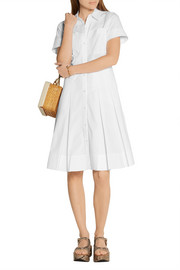 MICHAEL Michael Kors Pleated stretch-cotton poplin shirt dress