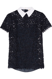 Stretch-cotton poplin-trimmed corded lace top