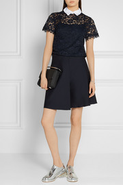 MICHAEL Michael Kors Stretch-cotton poplin-trimmed corded lace top