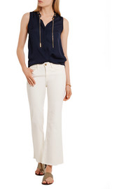 MICHAEL Michael Kors Chain-trimmed silk crepe de chine top