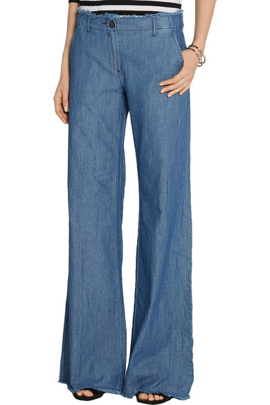 MICHAEL Michael Kors | Frayed high-rise wide-leg jeans | NET-A ...