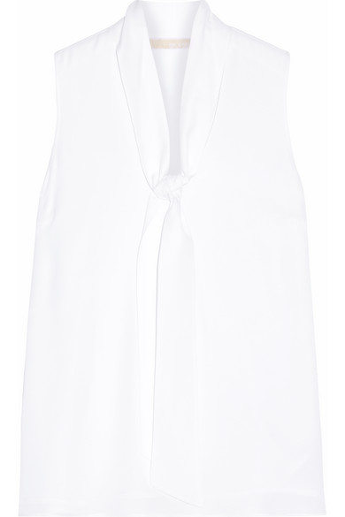 MICHAEL Michael Kors - Pussy-bow Silk-georgette Top - White