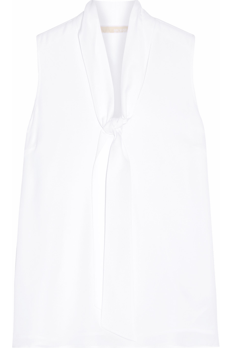 Pussy-Bow Silk-Georgette Top, Michael Michael Kors, White, Women's, Size: 12