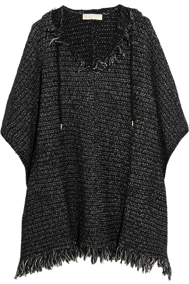 michael michael kors female 188971 michael michael kors fringed knitted hooded poncho black
