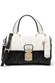 Two-tone matelassé leather shoulder bag