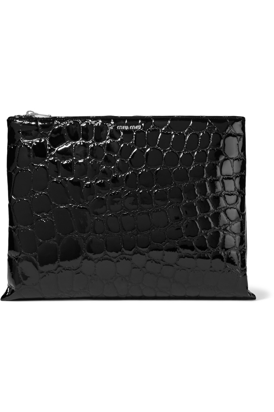 Miu Miu Alligator-Effect Glossed Faux Leather Clutch, Black, Women's