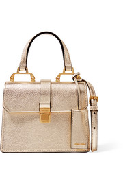 Madras mini metallic textured-leather shoulder bag