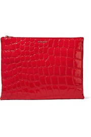 Alligator-effect faux leather clutch
