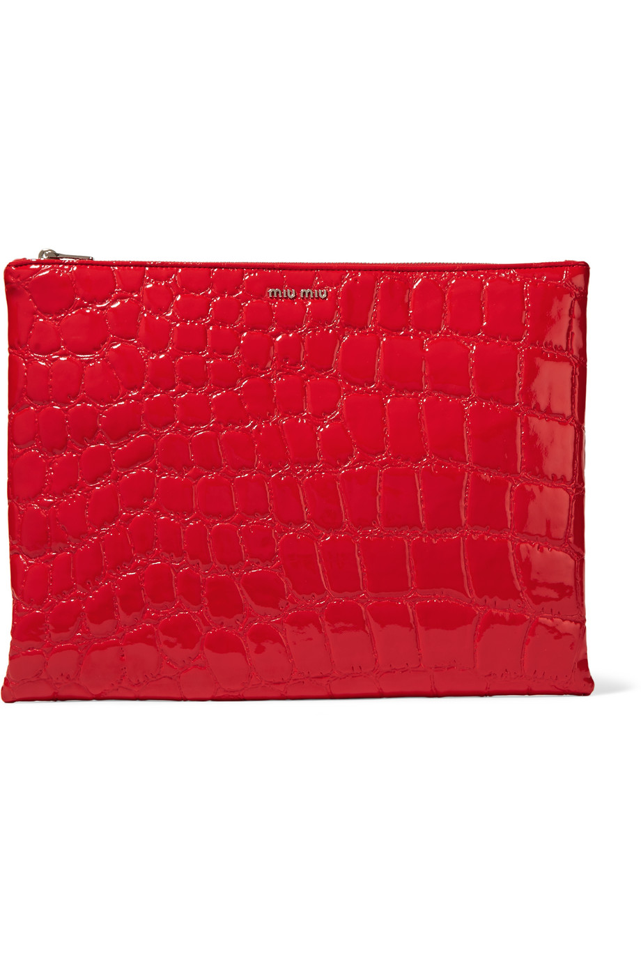 Miu Miu Alligator-Effect Faux Leather Clutch, Red, Women's