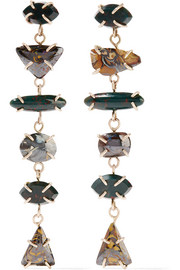 14-karat gold, bloodstone and boulder opal earrings
